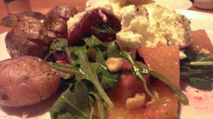 Potatoes with beet salad